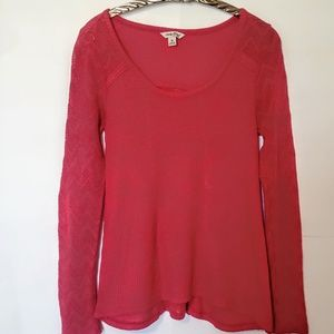 Lucky Brand lace/ thermal tee red / orange , M